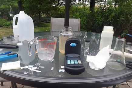 Water quality measurement tools on a table